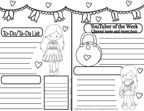 FREE YouTuber Art Journal Cute Winter Girl Instant Download-Happy Planner-