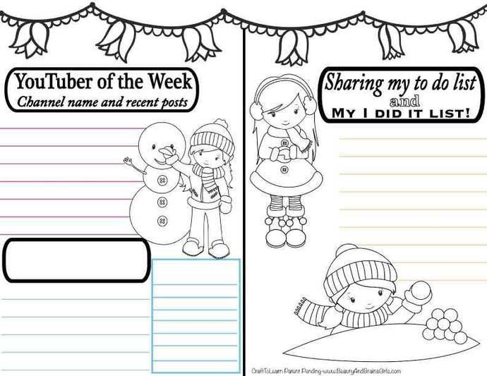 YouTuber Art Journal Snowman Winter Girl Instant Download-Happy Planner- Bullet