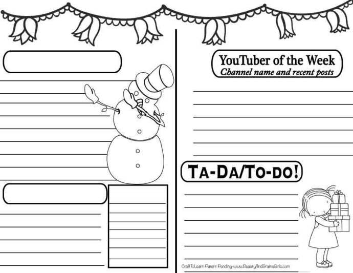 YouTuber Art Journal- SNOWMAN THEME Instant Download-Happy Planner- Bullet