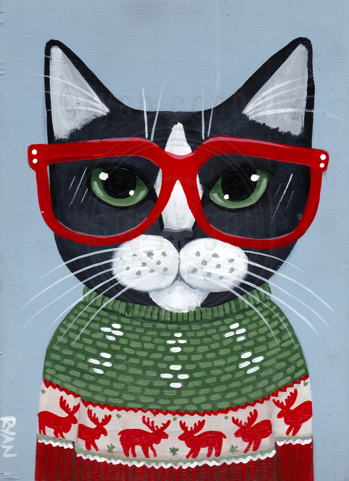 The Ugly Christmas Sweater Cat Original By Kilkennycat Art