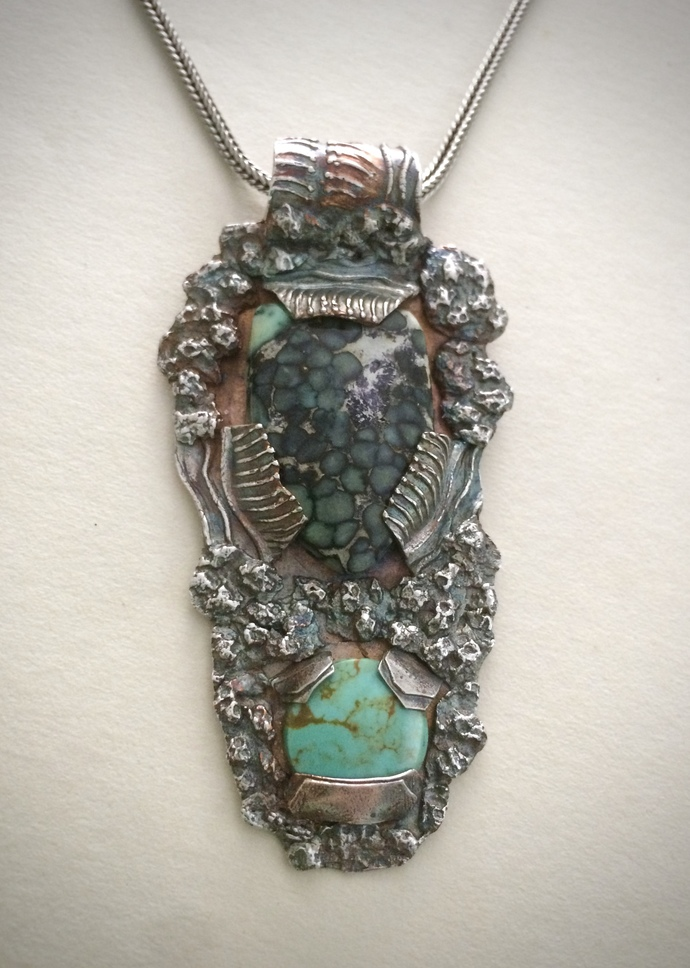 Variscite, turquoise necklace, silver jewelry, OOAK necklace, green pendant,