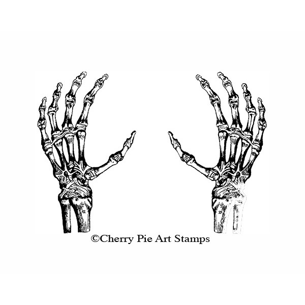Skeleton hands (set of 2)- CLinG rubber stamps by Cherry Pie S574