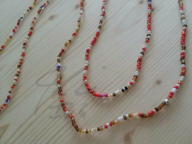 Orange/White Seed Bead Necklace - 44in. Single strand