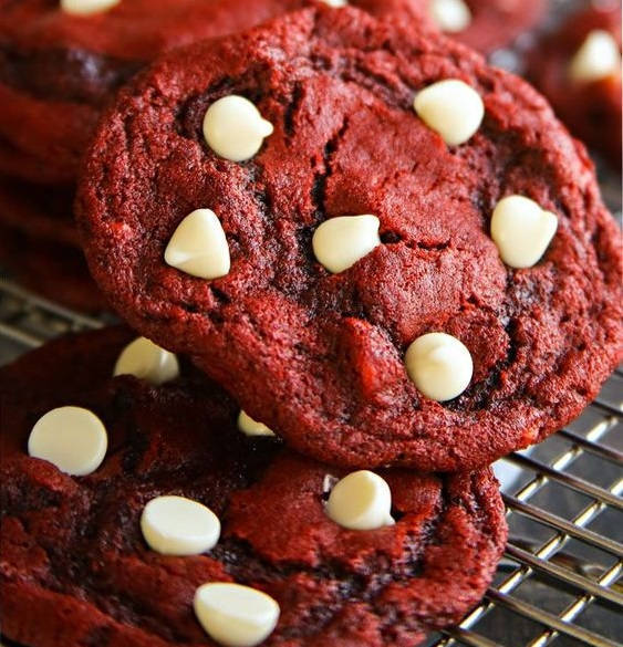 Red Velvet Cookies, Chewy, Delicious, White Chocolate, Cookies, Birthday,