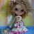 BLYTHE or Pullip Doll Dress OOAK - Fire Flower - 3D bullion stitch flower on