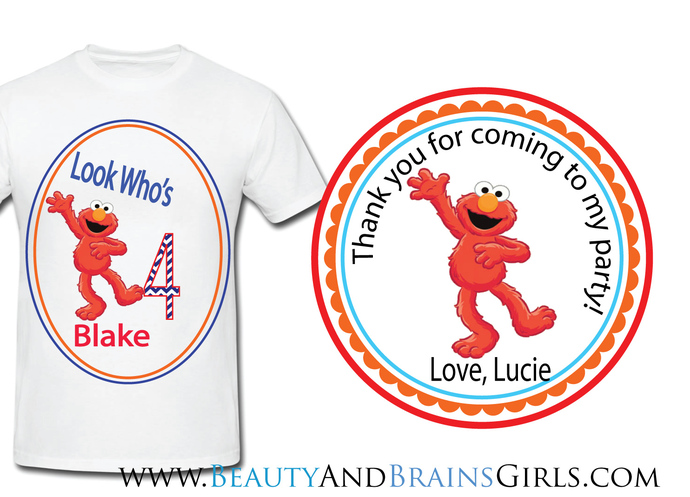 ELMO FREE Custom Birthday  Party Favor Labels and Shirt With your purchase of
