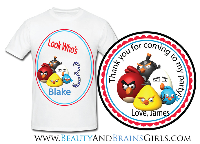 Angry Bird Custom Birthday  Party Favor Labels and Shirt With your purchase of