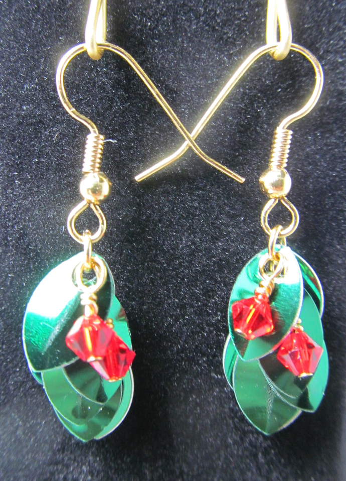 Christmas Holly Dragon Scale Earrings