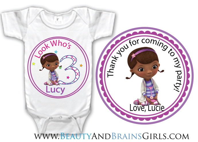 Abby CadabbyCustom Birthday Party Favor Labels and Shirt With Your Purchase