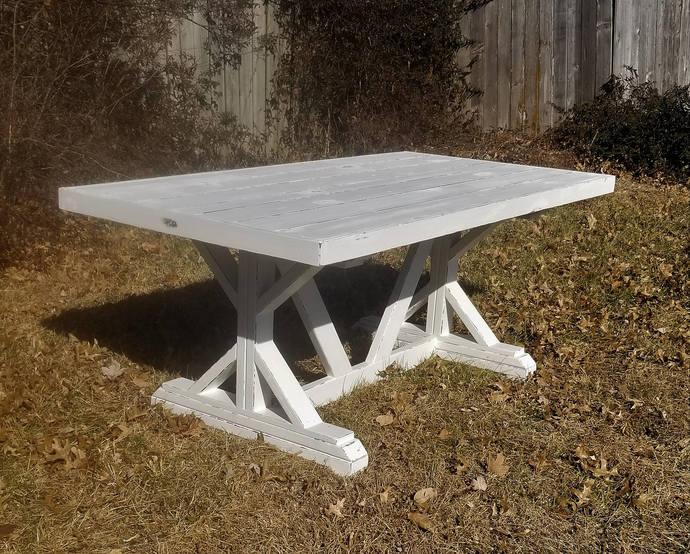 Distressed Farmhouse Table, White Fancy X, Trestle Leg, Handmade, Wood Kitchen