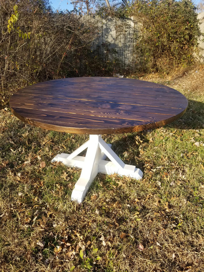 Round Top Fancy X Farmhouse Pedestal Table, Handmade Country Dining, Rustic
