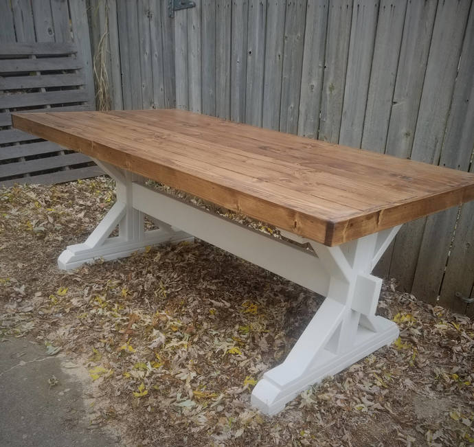 Merveilleux Lybrooke Style Farmhouse Table, Trestle Leg Dining Table, Handmade Wooden