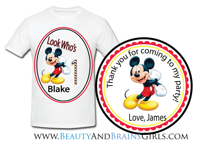 Mario Custom Birthday Party Favor Labels and Shirt With Your Purchase of  our