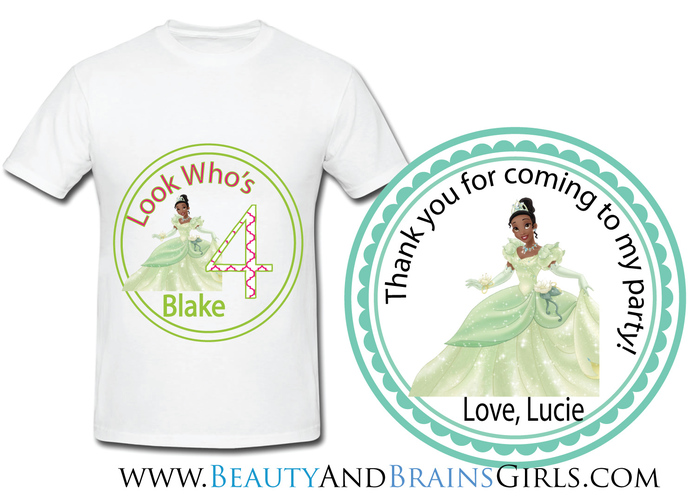 Princess Tiana  Custom Birthday Party Favor Labels and Shirt With Your Purchase