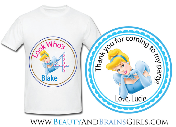 Cinderella  Custom Birthday Party Favor Labels and Shirt With Your Purchase