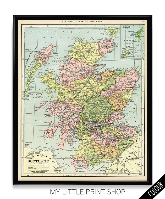 Vintage 1906 Map of Scotland