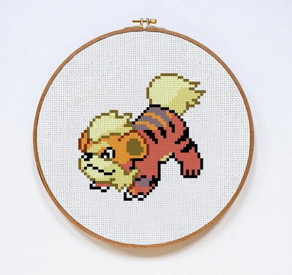 Growlithe | Digital Download | Geek Cross Stitch Pattern | Pokemon Pattern
