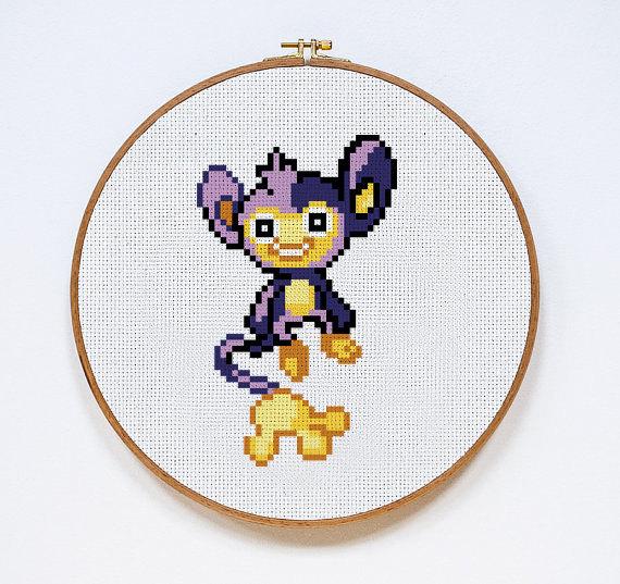 Aipom | Digital Download | Geek Cross Stitch Pattern | Pokemon Pattern