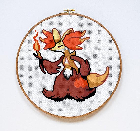 Delphox   Digital Download   Geek Cross Stitch Pattern   Pokemon Pattern