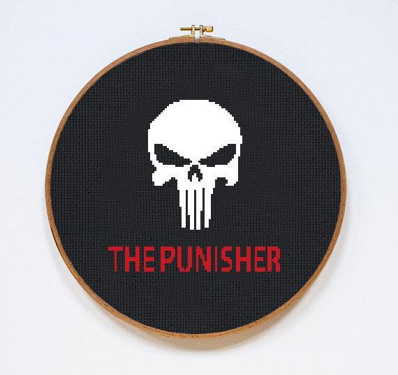 The Punisher   Digital Download   Geek Cross Stitch Pattern   Marvel Pattern