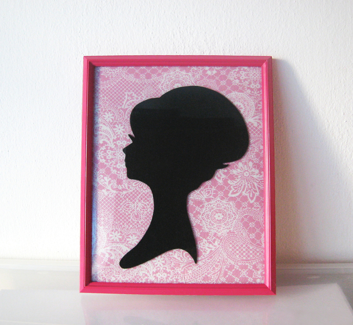 Shabby Chic Lady Portrait On Pink Paisley by SmilingCloud on Zibbet