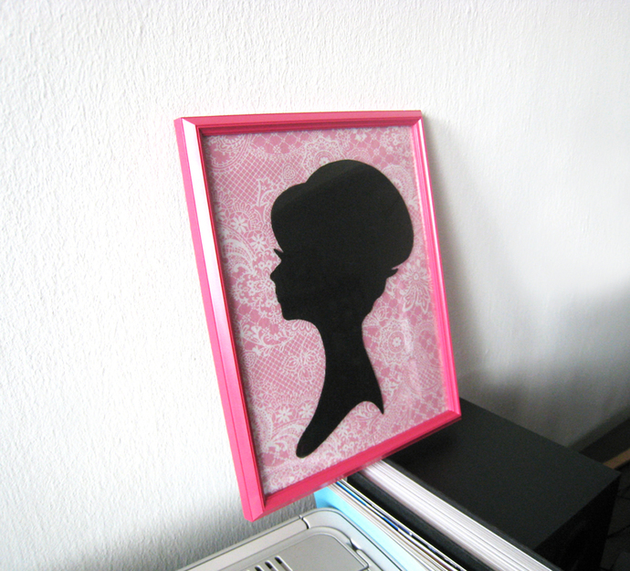 Shabby Chic Lady Portrait On Pink Paisley Background Pink Framed Art Wall Art.
