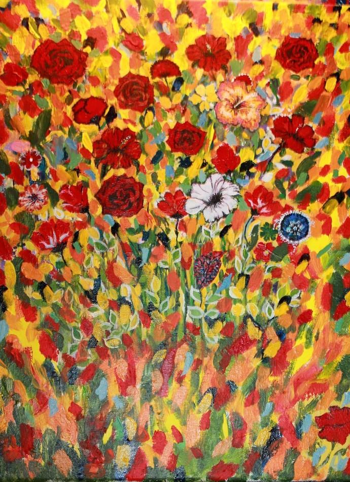 "Roses, 16"" x 20"" in, Acrylic."