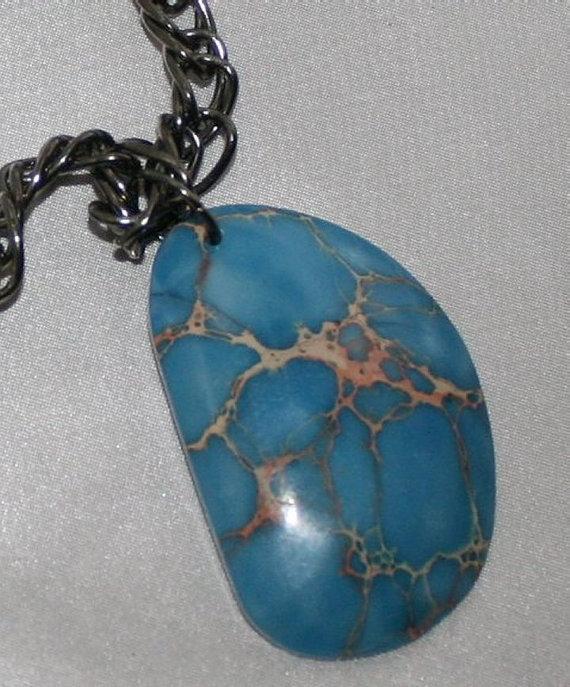 Men's Blue Jasper Statement Necklace, Masculine Pendant Jewelry, Large Chunky