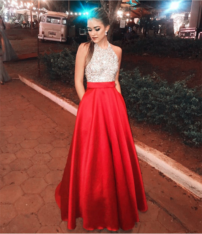 Sexy Sleeveless Prom Dress, Halter Satin Long Prom Dresses, Crystal Beaded