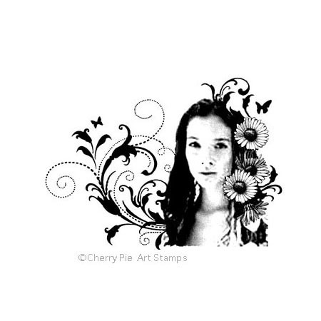 Flora woman - Spring spirit -CLING RuBBer STAMP by Cherry Pie R584