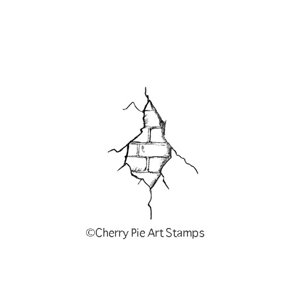 Broken brick wall  CLING Rubber STAMP for acrylic block D142