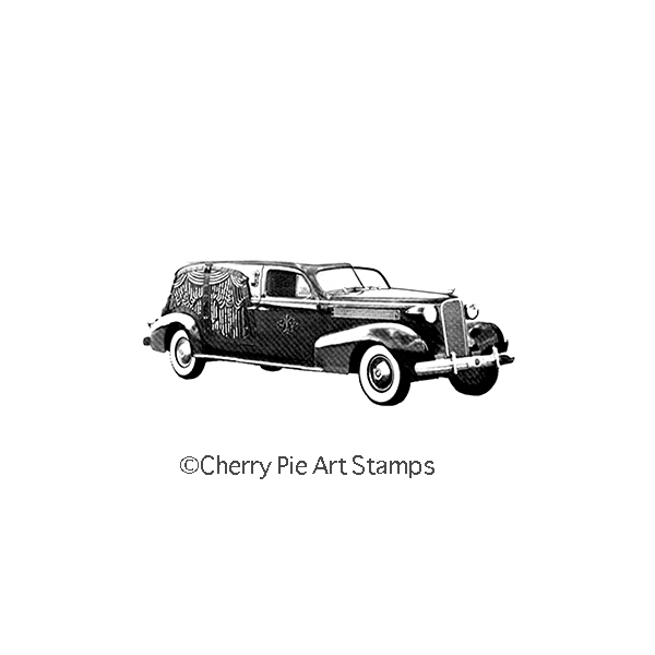 Cadillac hearse- car - funeral vehicle- CLiNG RuBBer STaMP by Cherry Pie E179