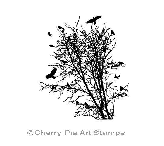 Tree with crows- CLiNG RuBBer STaMP by Cherry Pie Art Stamps Q450