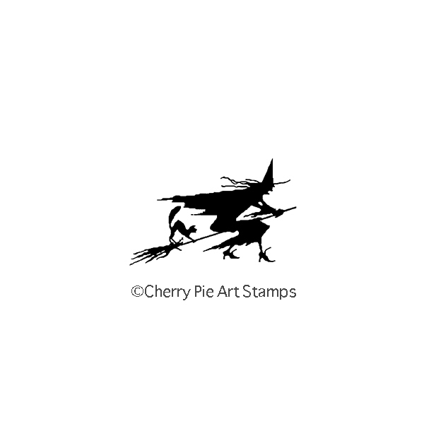 Flying WITCH silhouette- CLiNG RuBBer STaMP for acrylic block by Cherry Pie C123