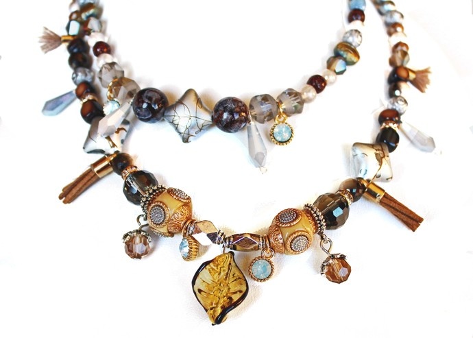 Beaded necklace with beads of different shapes and colors, ethnic design
