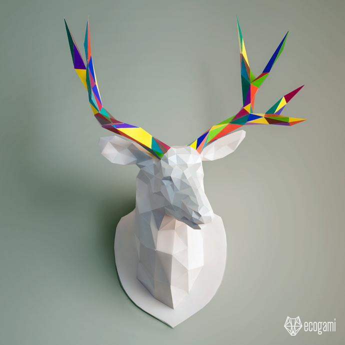 Make your own papercraft deer trophy | DIY wall mount | 3D paper animal trophy |