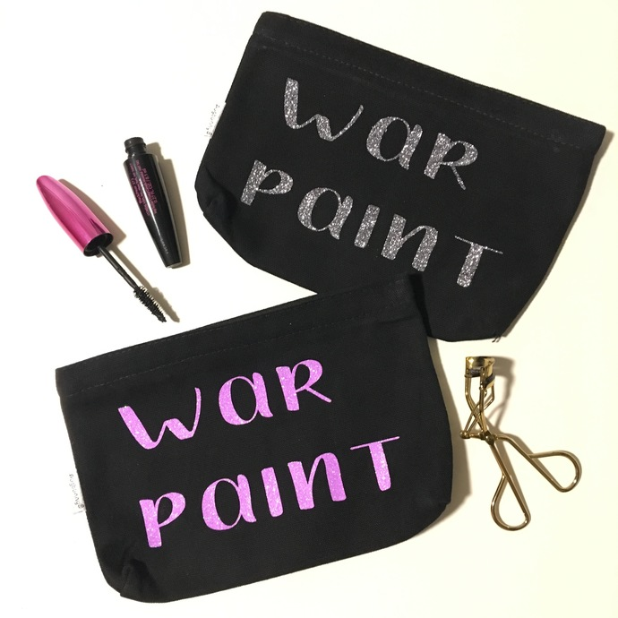 War Paint, Custom Makeup Pouch, canvas toiletry bag