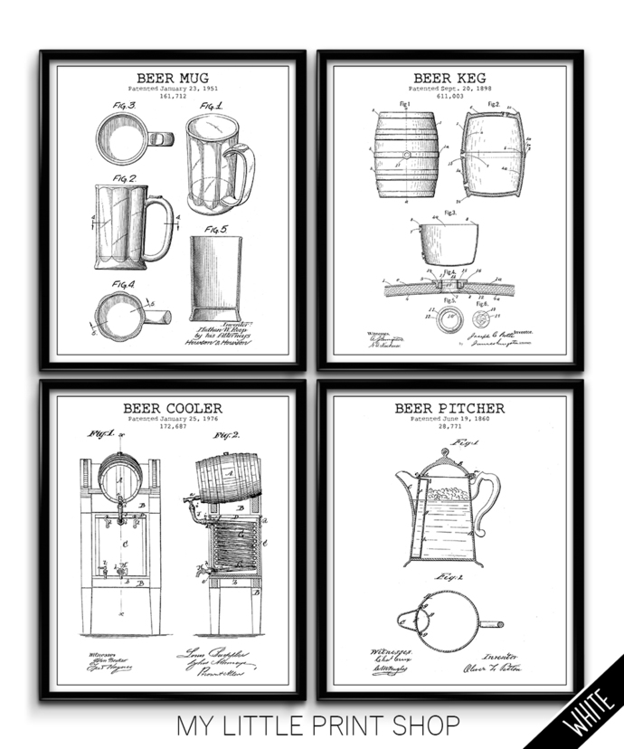 Vintage Beer Bar Patent Print Set