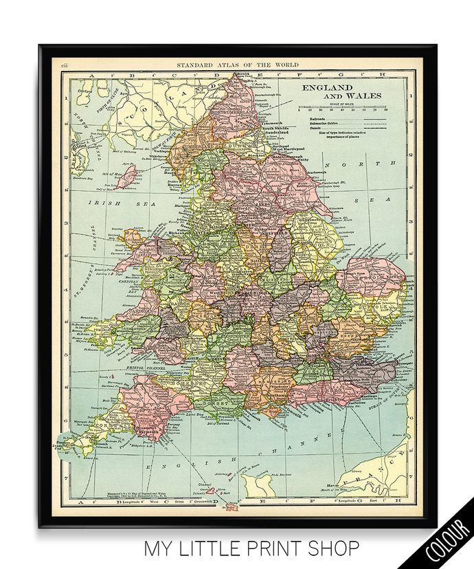 Map Of England To Colour.Vintage 1906 Map Of England And Whales