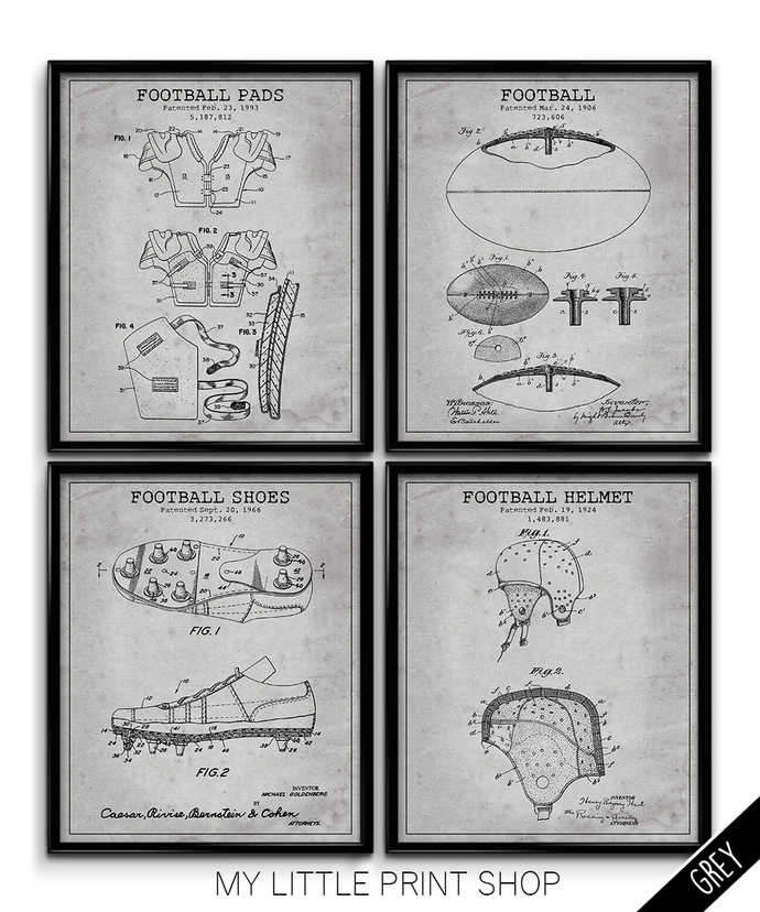 Vintage Patent Football Print Set