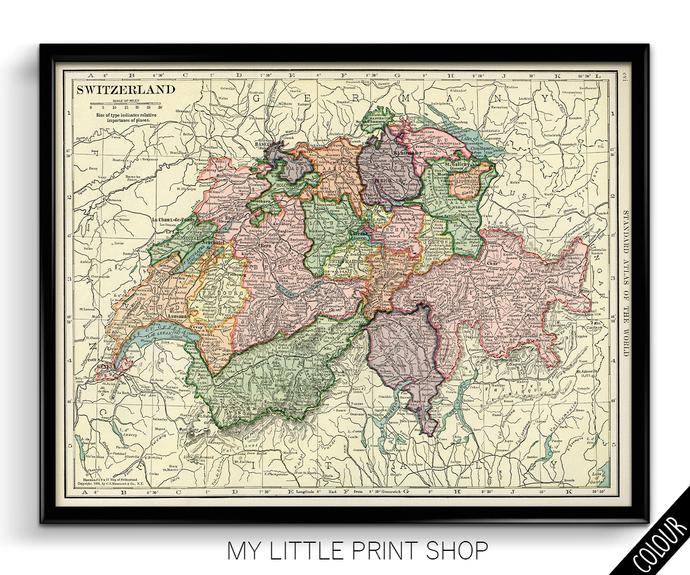 Vintage 1906 Map of Switzerland