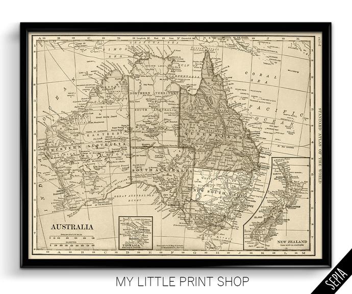 Vintage 1906 Map of Australia