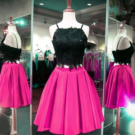 Sleeveless Prom Gown, Two Piece Prom Dress, Spahetti