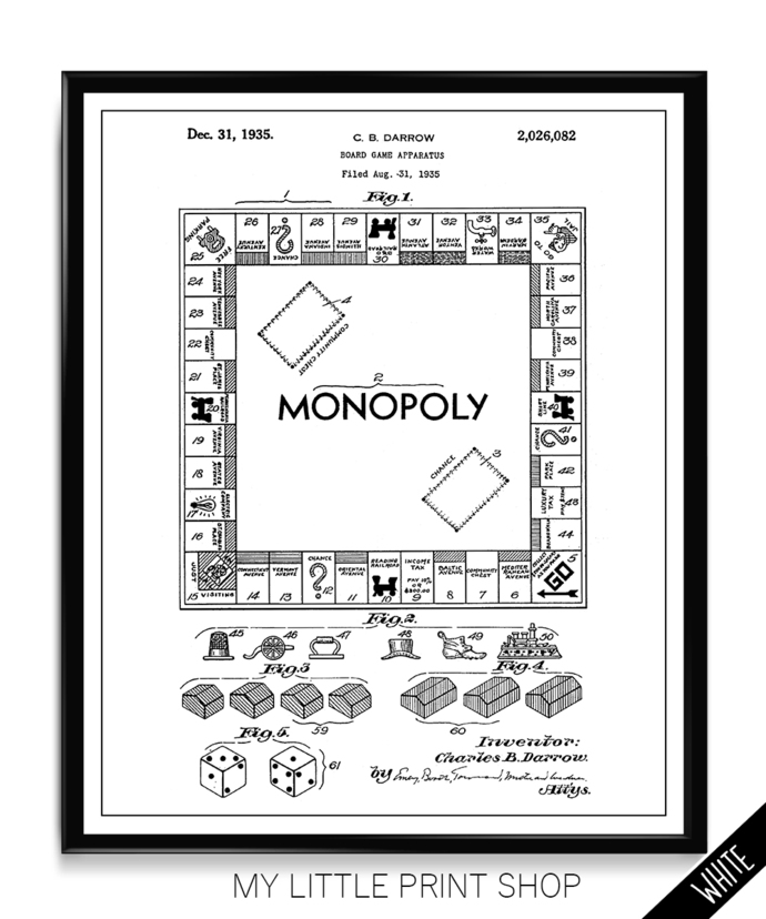 Vintage Patent Monopoly Board Game