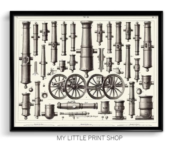 Vintage 1851 Artillery Print