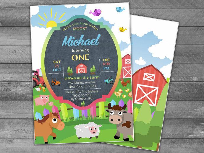 Farm Birthday Party Invitation Instant by HolidayPartyStar on Zibbet