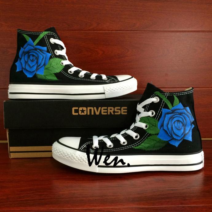 Sales Turnschuhe Männer Frauen Converse All Star Blue Roses