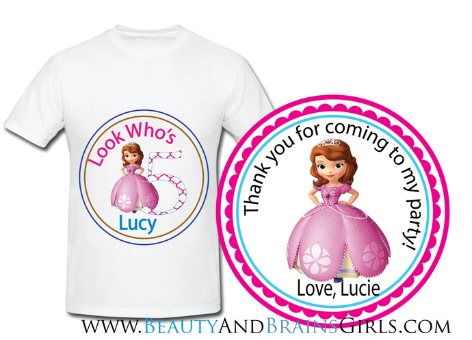 Doc Mc  Custom Birthday Party Favor Labels and Shirt With Your Purchase