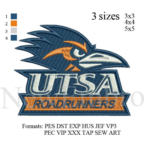 Custom Embroidery Design Roadrunners Utsa Logo By Newembro On Zibbet