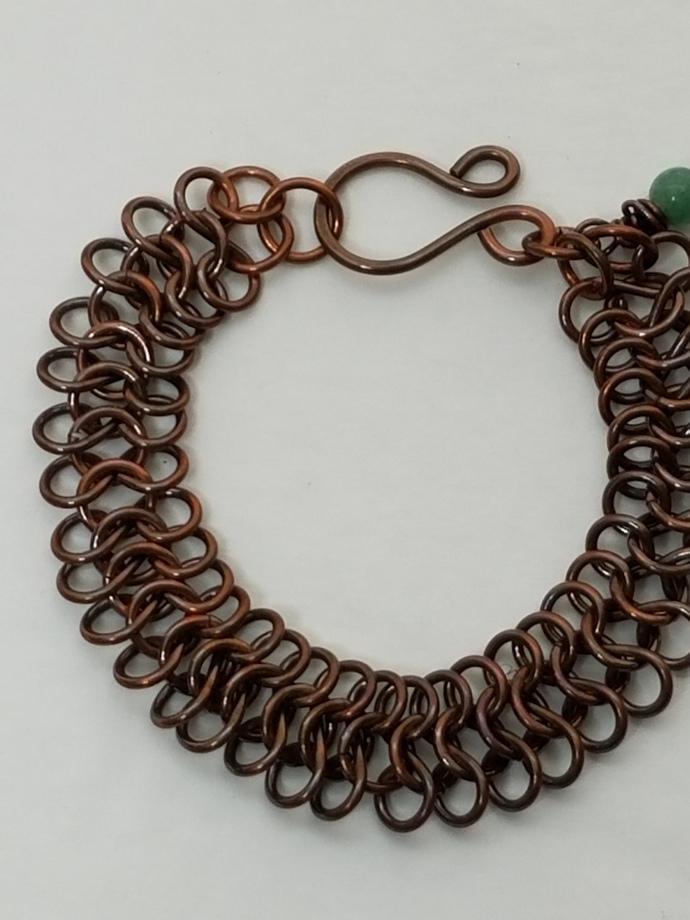 Handmade Copper European 4 in 1 Chainmaille Bracelet, Jade Gemstone Dangle